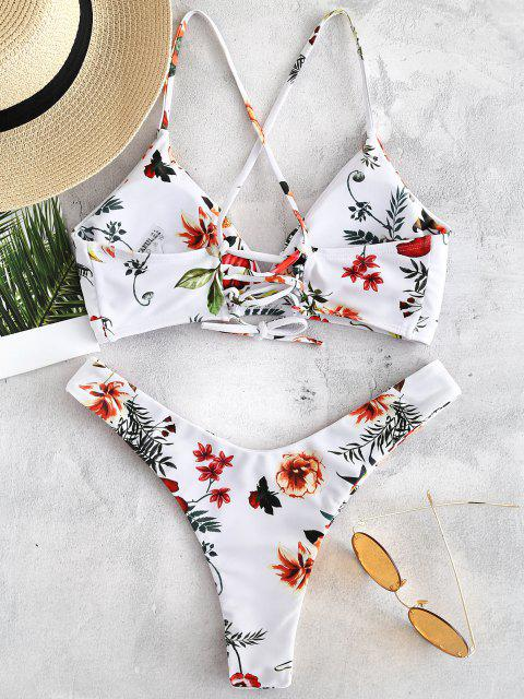 ZAFUL Ensemble de Bikini Fleur à Lacets - Blanc L Mobile