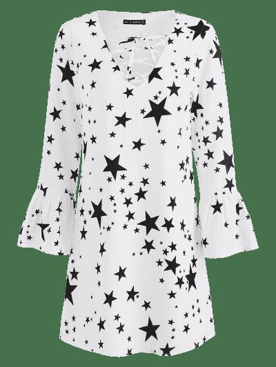 Stars Print Long Sleeve Dress, White
