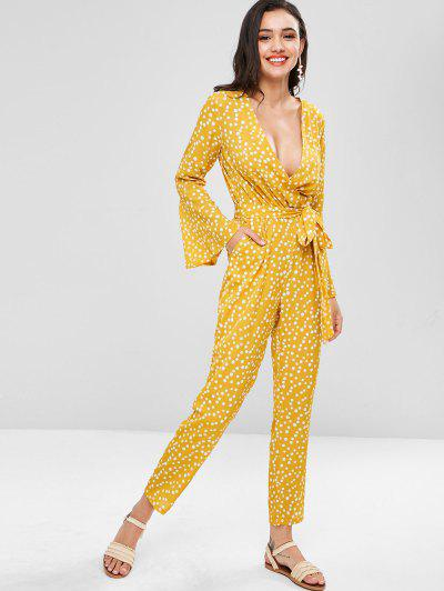 Polka Dot Bell Sleeve Jumpsuit - Sun Yellow L