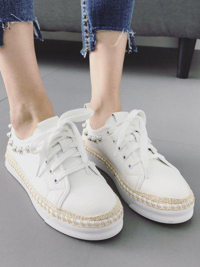 Faux Pearl Decorative Low Top Espadrille Sneakers - White 40