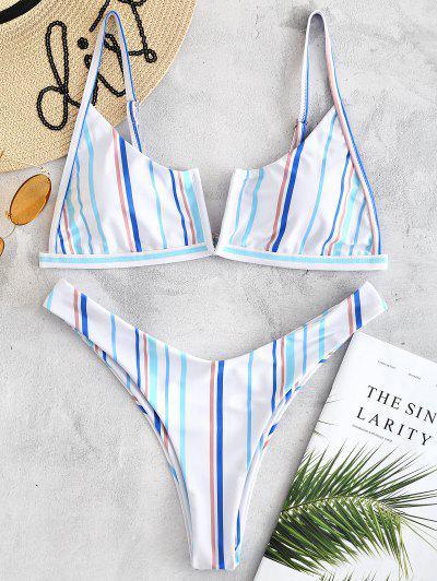 Striped Slip High Leg Bikini Set - White L
