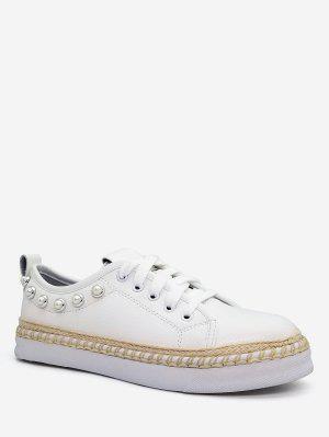 Faux Pearl dekorative niedrige Sneakers