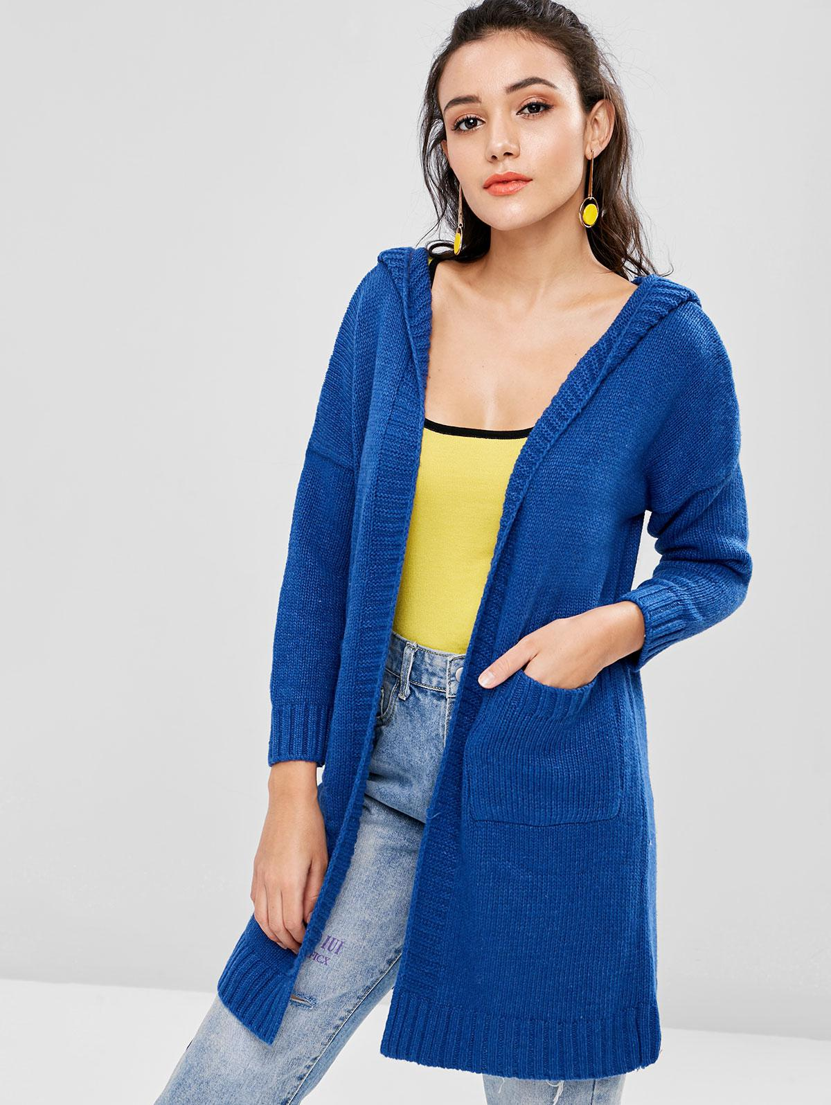 Patch Pocket Hooded Long Oversized Cardigan