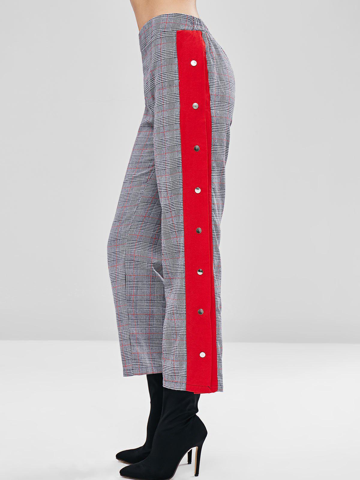 Snap Button Plaid Pants