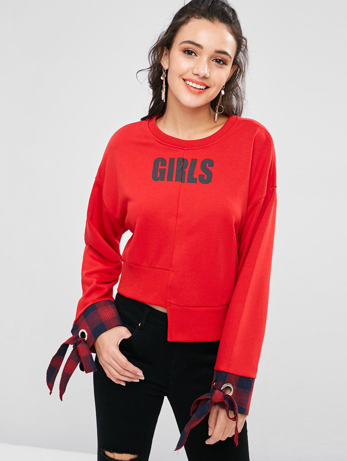 Grommet Tied Asymmetric Sweatshirt, Love red