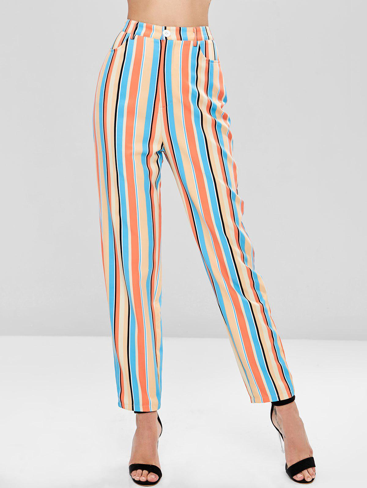 High Waisted Striped Straight Pants, Multi