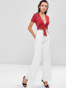 31f2fbb8200b 24% OFF  2019 Polka Dot Tie Front Top In CHERRY RED