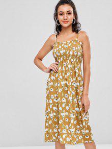 Estampado Fruncido Amarillo Con Camisero Floral Vestido qxwARS7T4