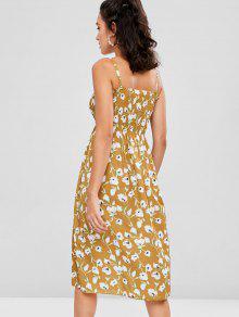 Vestido Con Estampado Amarillo Fruncido Floral Camisero rCv5w7r