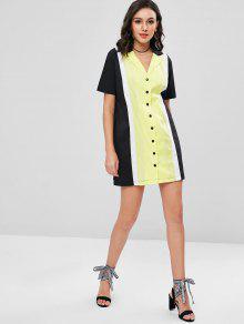 Color Bloque De Solapa De De Camisa De Vestido M Multicolor qZXwfX