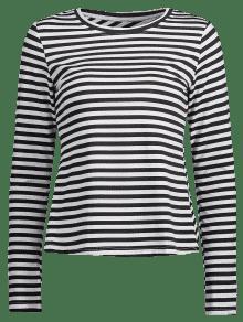 Cruzada Con Multi Camiseta A Manga Larga De S Espalda Rayas qx8pX0x6