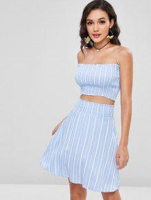 Smocked Bandeau Top And Skirt Two Piece Set - الضوء الأزرق M