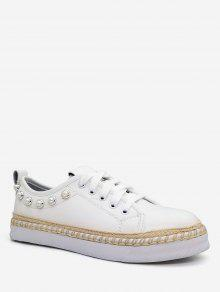 حذاء نسائي من Faux Pearl - أبيض 36