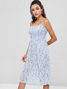 Azul Claro Vestido Floral Fruncido Camisero wTx8860SX