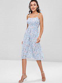 Azul Claro Floral Vestido Camisero Fruncido q1w1gf