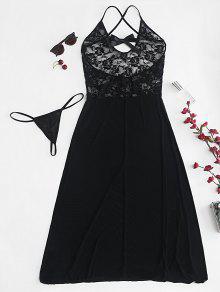 مجموعة الملابس الداخلية الدانتيل الشفاف تول ميدي ميدي - أسود L