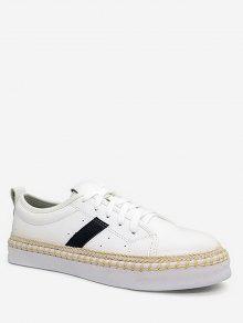 شريط التفاصيل PU جلدية Espadrille حذاء رياضة - أبيض 38