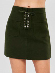 جيب مصغرة الدانتيل متابعة التنورة - الجيش الأخضر L