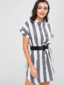 فستان بنمط قميص مخطط - متعدد M