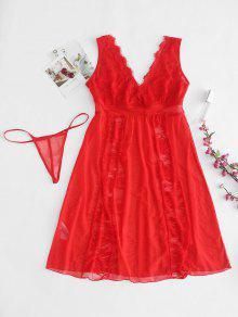 مجموعة الملابس الداخلية الدانتيل الشفاف تول - أحمر Xl