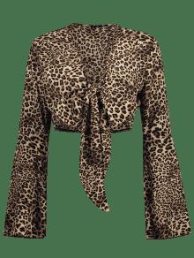 Larga S Y Con De Manga Leopardo Leopardo Estampado Blusa BgnT8Yq