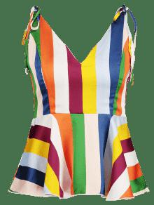 Blusa L Peplum Rayas Multicolor Camuflaje A De Cami w8Zpqw