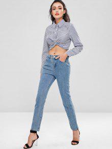 Corte S Azulado Twist Gris Hem De Camisa pqU6wfn