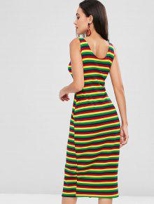 Pierna A Multicolor L Media De Con Rayas Colores Vestido qOEgwHxdg