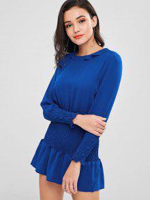 Smocked كم طويل فستان - أزرق Xl