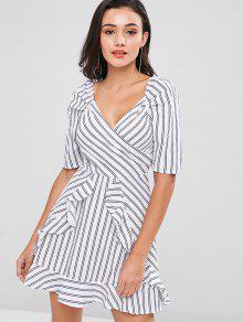 فستان كشكش مخطط - أبيض L