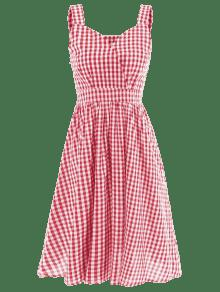 Rojo A S Cuello o Cereza Con De Vestido Cari Algod Cuadros 243;n aqtzn