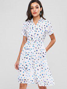 Vestido Lunares Camisa La Blanco De De S pqap4