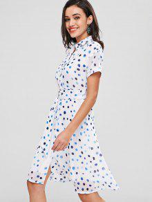 فستان بنمط قميص - أبيض 2xl