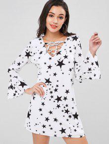 Manga Estrellas Estampado Vestido De De Larga Blanco Con Xl 5xOxAwqYv