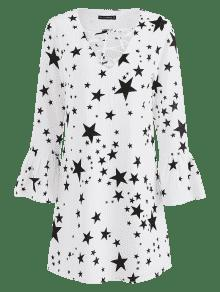 Estampado Xl Vestido Con Manga Larga De Estrellas De Blanco qxOfT