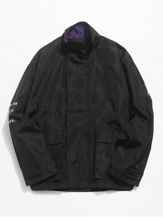التصحيح التطريز جيوب سترة مضادة للماء الرمز - أسود XL