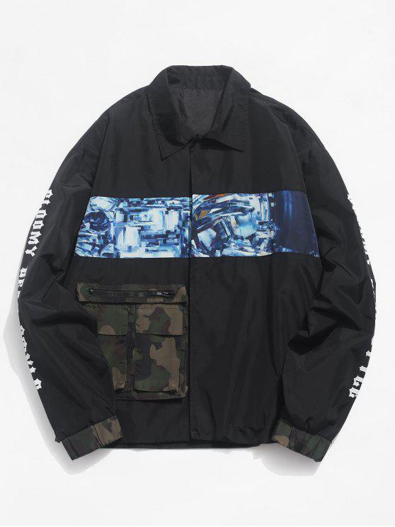 unique Contrast Patch Snap Button Waterproof Jacket - BLACK L