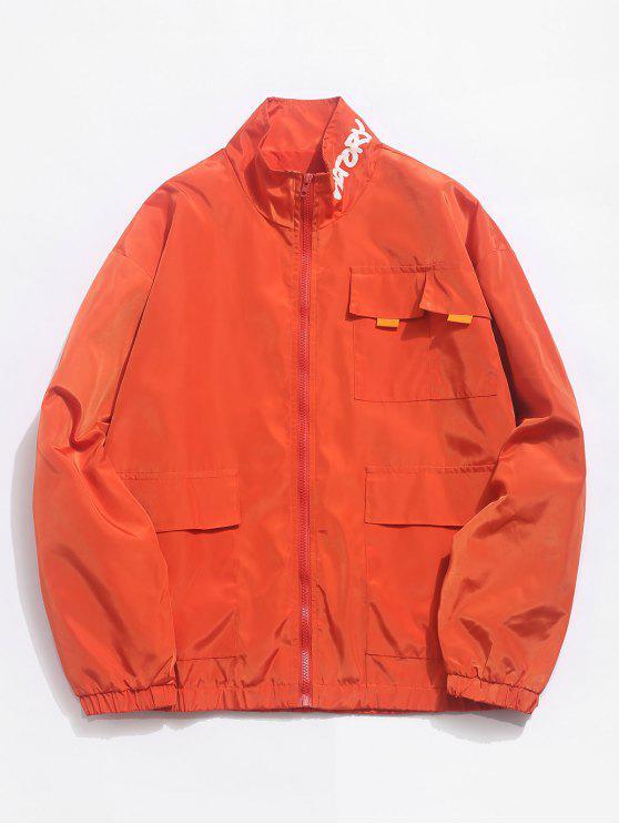 Graphic Pockets Wasserdichte Zip Jacke - Dunkles Orange M