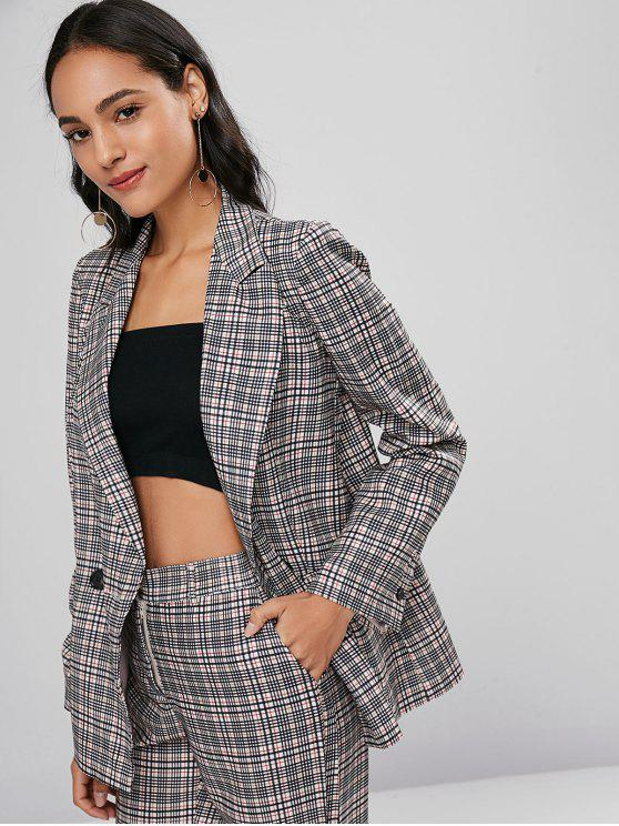 online Flap Pockets Checked Blazer - MULTI L