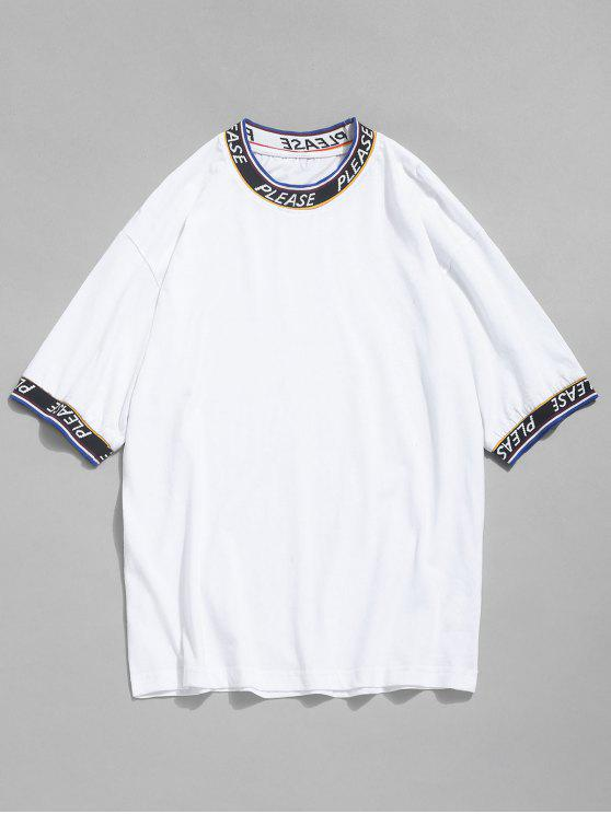buy Letter Tape Elastic Patch T-shirt - WHITE L