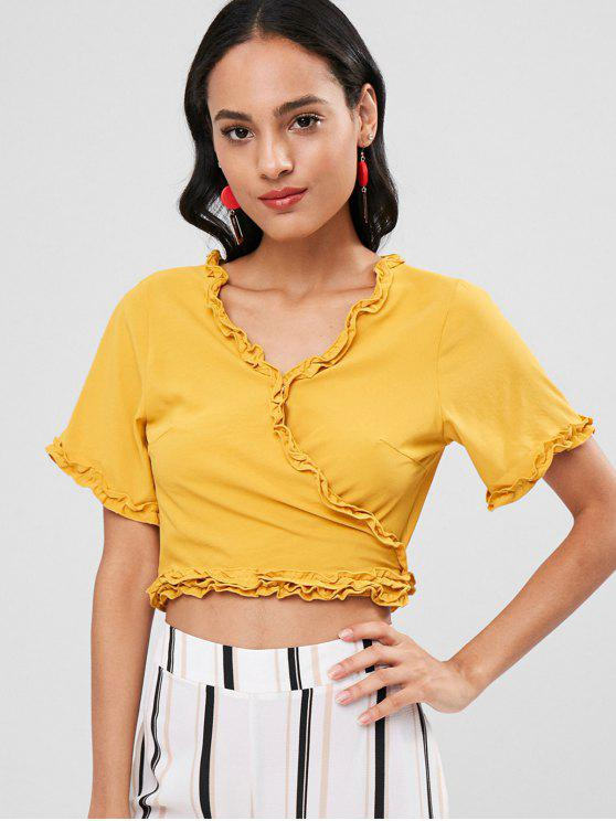 Alface Guarnição Tie Up Wrap Crop Top - Amarelo M