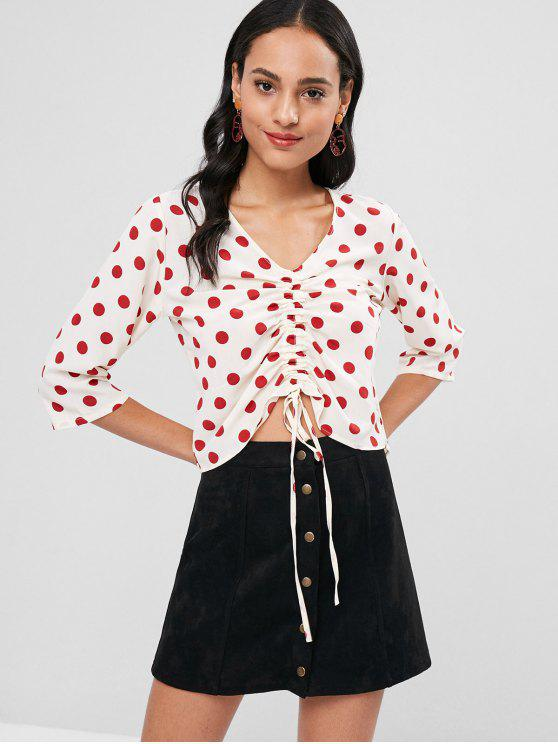 ladies Ruched Front Polka Dot Top - MULTI M