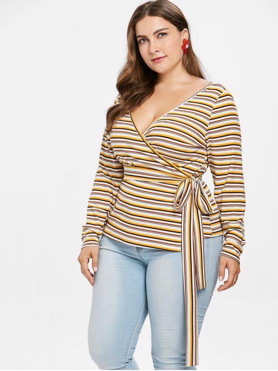 Плюс Размер Полосатый трикотаж Wrap T-shirt - Многоцветный 3X