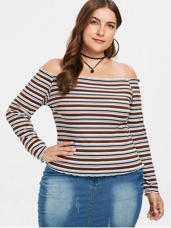 T-shirt Rayé en Tricot de Grande Taille à Epaule Dénudée - Multi L