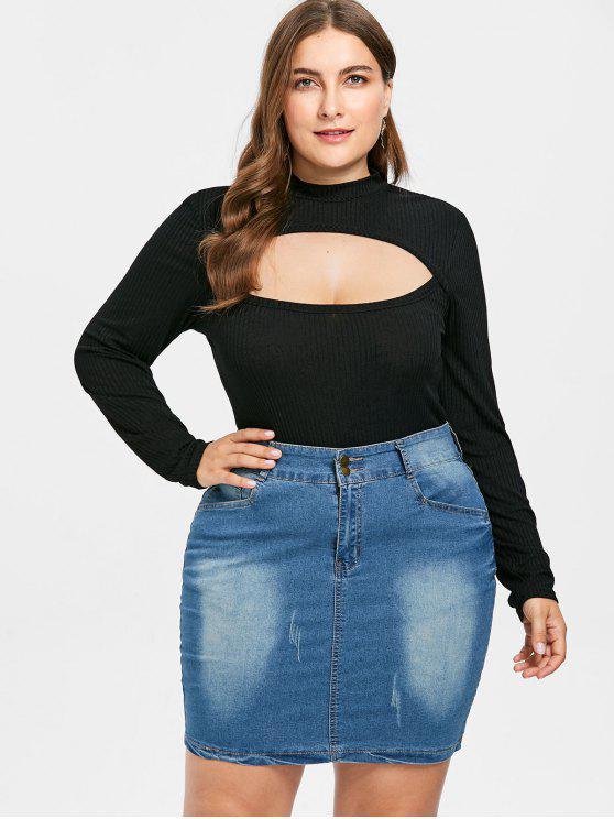 T-Shirt Plus Size In Maglia Tagliata - Nero 2X