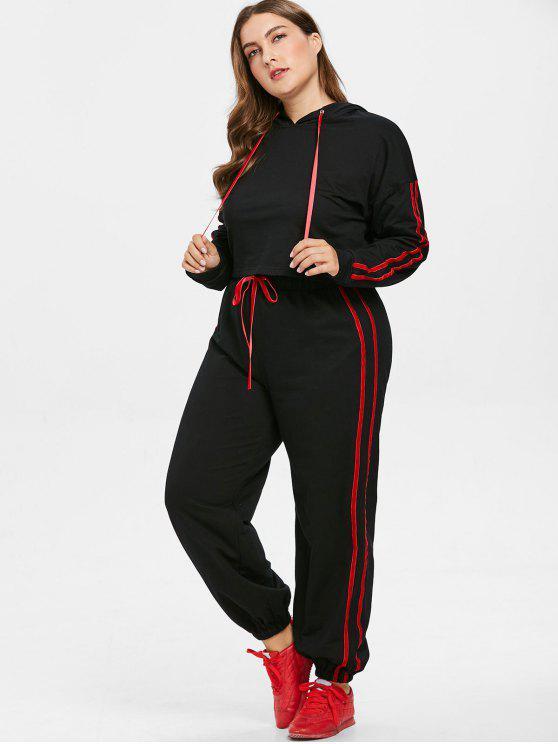 trendy Contrast Side Plus Size Hoodie and Pants Set - BLACK L