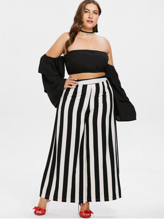 Plus Size Bandeau Top And Striped Pants Set   Black L by Zaful