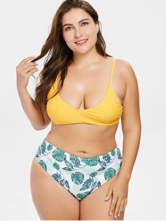 1949ad919af fashion Palm Leaf Plus Size High Waisted Bikini - RUBBER DUCKY YELLOW 1X