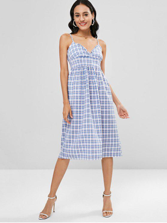 affordable A Line Cami Plaid Casual Dress - MULTI ONE SIZE