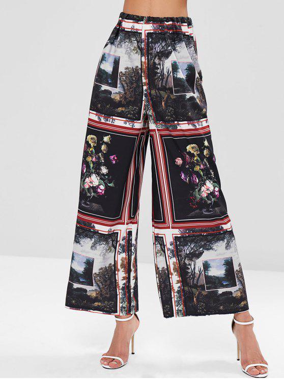 Pantaloni Larghi A Vita Elastica Con Stampa Dipinto Di Paesaggio - Multi Colori S